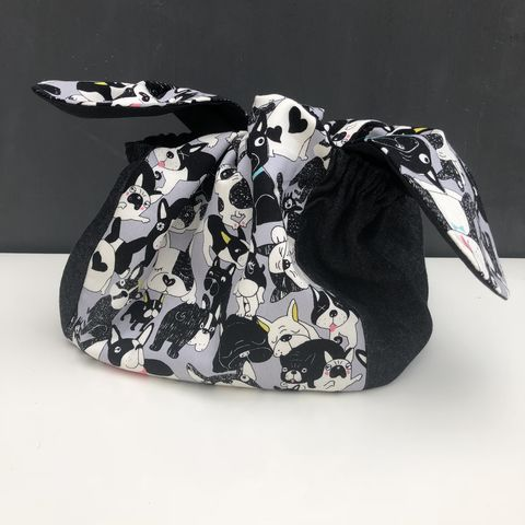 Japanese,style,cotton,knotted,fabric,bag,-,French,bulldog,print,Japanese bag, gift bag, storage bag, nursery, home decor, cotton bag, handmade, mustard, knotted bag, monochrome