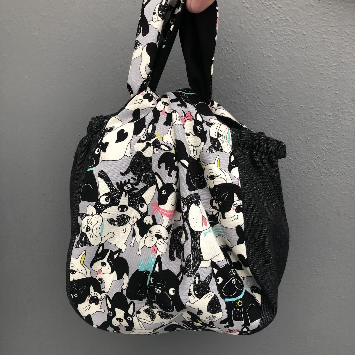 Japanese style cotton knotted fabric bag - French bulldog print - product images  of