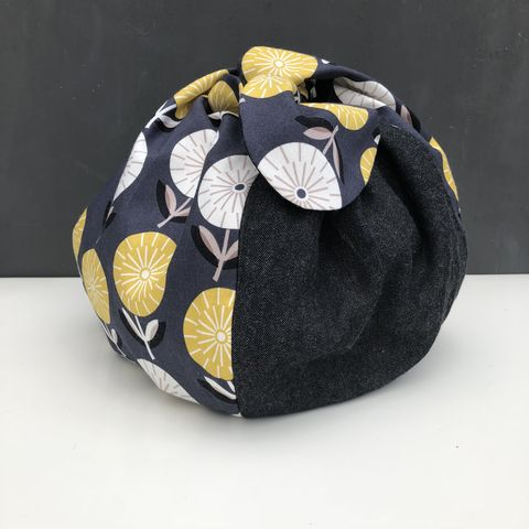 Japanese,style,cotton,knotted,fabric,bag,-,mustard/monochrome,Japanese bag, gift bag, storage bag, nursery, home decor, cotton bag, handmade, mustard, knotted bag, monochrome