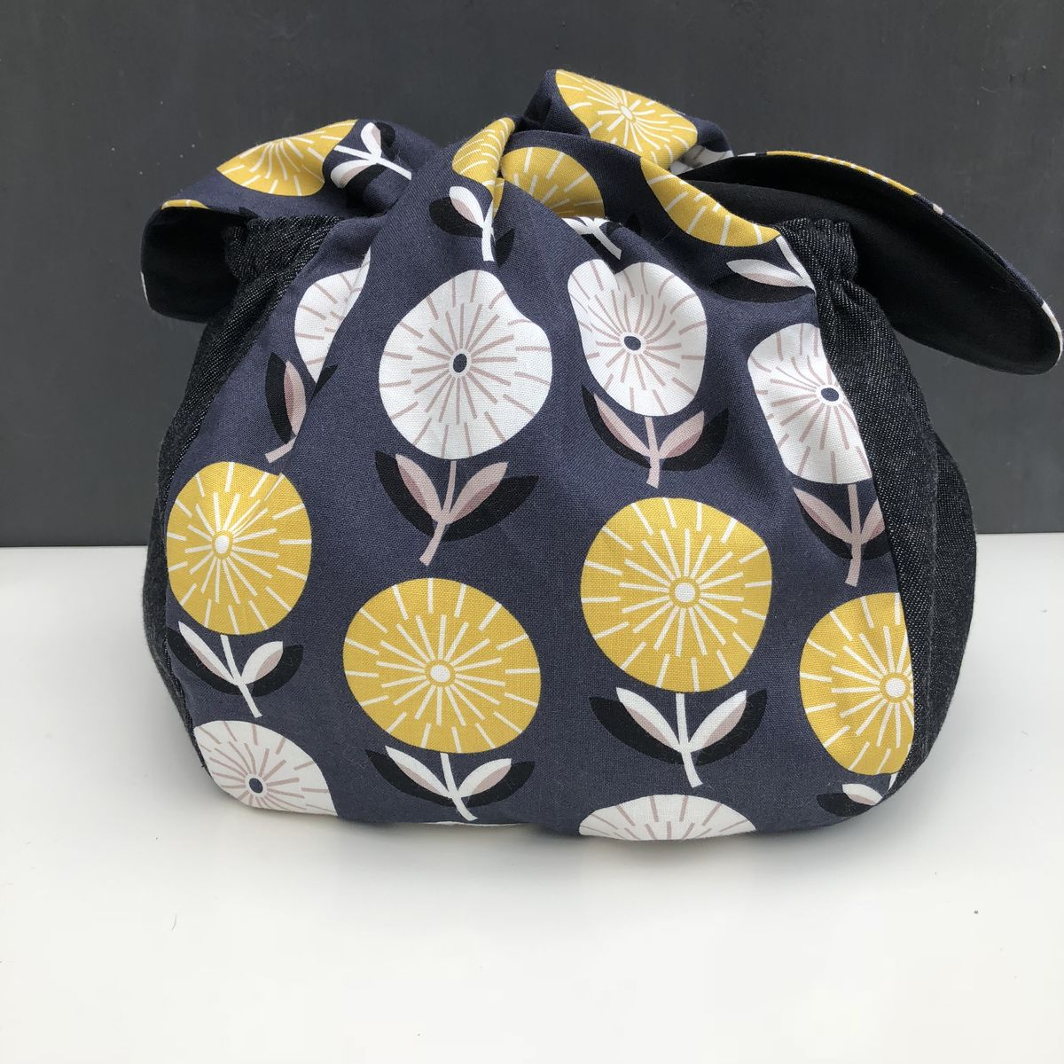 Japanese style cotton knotted fabric bag - mustard/monochrome - product images  of
