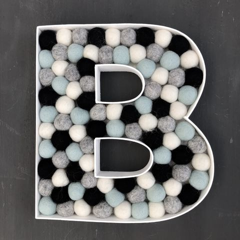 Decorative,alphabet,felt,ball,filled,wooden,letter,(mint,blue/green,accent),filled letter, decorative letter, alphabet letter, nursery decor, black, white, grey. mint blue green, contemporary