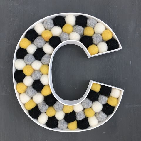 Decorative,alphabet,felt,ball,filled,letter,personalised gift, nursery decor, black, white, grey, mustard, baby shower gift, wedding decoration, party decoration