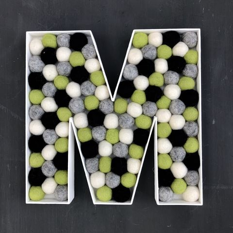 Decorative,alphabet,felt,ball,filled,letter,M,personalised gift, nursery decor, black, white, grey, green, baby shower gift, wedding decoration, party decoration