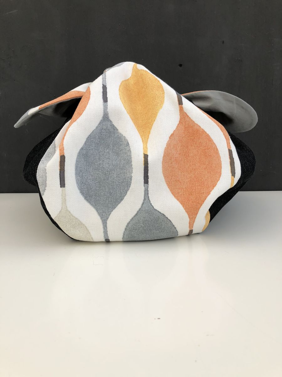 Japanese style cotton knotted fabric bag - retro style print - product images  of
