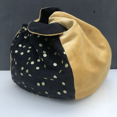 Japanese,style,cotton,knotted,fabric,bag,-,mustard,velvet/black,and,gold,Japanese bag, gift bag, storage bag, knitting bag, velvet, nursery, home decor, cotton bag, handmade, mustard, knotted bag, monochrome