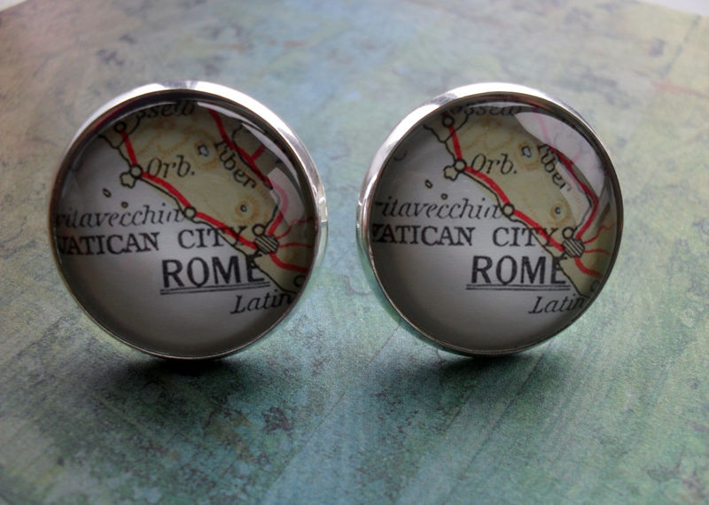 Custom Map Cufflinks / Personalized Cuff links / Groomsmen Gift / You Pick the Location / Vintage Map Cufflinks / Mix and match locations - product image