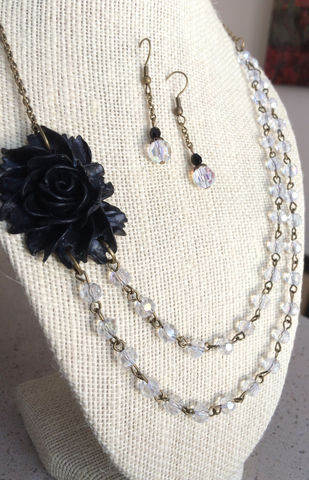 Gorgeous,BLACK,ROSE,&,Clear,CRYSTAL,Beaded,Necklace,and,Earrings,Set,/,Bridesmaid,Jewelry,Floral,Flower,Neckla,ce,/Gift,Boxed,One_Of_A_Kind,Hand_Made,molded_resin_rose,floral_necklace_set,necklace_earrings,crystal_beaded_set,bridesmaid_jewelry,beaded_flower_set,faceted_crystal,jet_black,aurora_borealis,clear_crystal_beads,goreous_necklace
