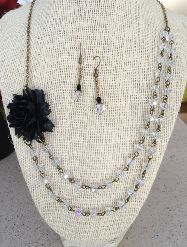 Gorgeous BLACK ROSE & Clear CRYSTAL Beaded Necklace and Earrings Set / Bridesmaid Jewelry / Floral Set / Beaded Flower Neckla ce /Gift Boxed - product image