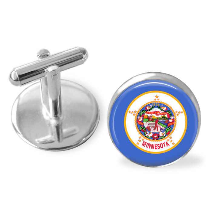 MINNESOTA STATE Flag Cufflinks / MINNESOTA cuff links /  North Star State  / state flag jewelry / Groomsmen Gift / Personalized / Gift Boxed - product image