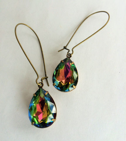 VINTAGE,VITRAIL,Rhinestone,Drop,EARRINGS,/,Czech,Glass,Rainbow,Dangle,Bridesmaid,Earrings,Vintage,Brass,Gift,Boxed,Jewelry,Estate_Style,Vintage_Rhinestones,Antiqued_Brass,Vintage_Style,Crystal,Czech_Glass,Cabochon,Vitrail,Unique_Gift,Canteam,Bridesmaid_earrings,rainbow_rhinestone,brass_earwires