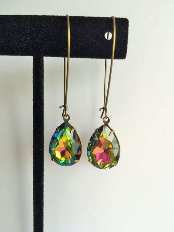 VINTAGE VITRAIL Rhinestone Drop EARRINGS  / Czech Glass / Rainbow Rhinestone / Dangle / Bridesmaid Earrings / Vintage Brass / Gift Boxed - product image
