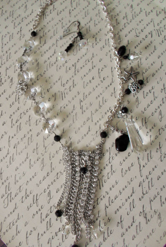 FABULOUS Rhinestones & Crystals NECKLACE SET / Reworked Vintage / Upcycled / Unique / Statement Necklace / Bib Necklace / Beach Wedding - product image