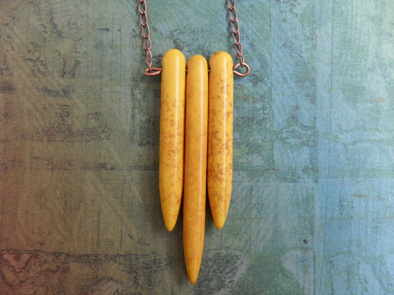 Geometric Golden YELLOW Turquoise 3 SPIKE NECKLACE / Tribal / Boho / Custom / Gift Boxed - product image