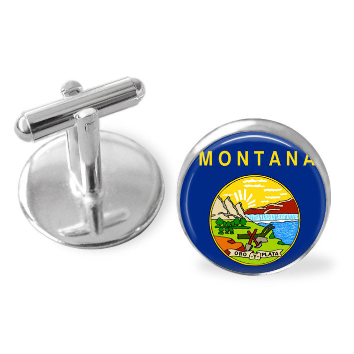 MONTANA STATE Flag CUFFLINKS / Montana cuff links / Big Sky Country  / state flag jewelry / Groomsmen Gift / Personalized / Gift Boxed - product image