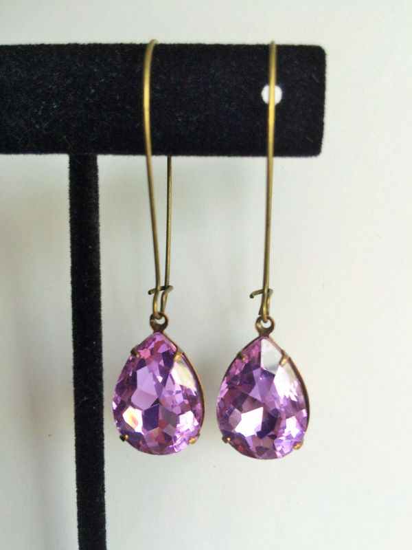 VINTAGE Lilac PURPLE Rhinestone Drop EARRINGS / Czech Glass / Pear Shaped / Simple /  Dangle / Bridesmaid / Antiqued Brass / Gift Boxed - product image