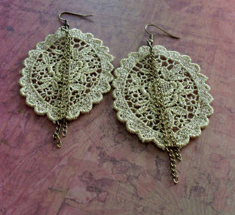 PRETTY,Gold,Venise,Floral,LACE,&,CHAIN,Earrings,/,Vintage,Lace,Bridal,Metallic,Upcycled,Gothic,lace,jewelry,Weddings,Jewelry,Venise_Lace,Lace_Jewelry,Gold_Lace,Reworked,Metallic_Lace,Lace_Earrings,Vintage_Lace_Earring,Lace_Jewellery,Unique_Earrings