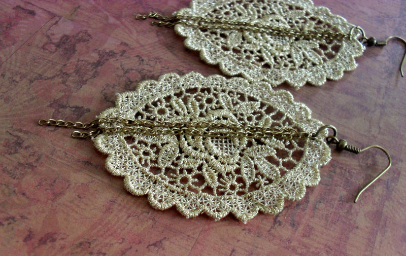 PRETTY Gold  Venise Floral LACE & CHAIN Earrings / Vintage Lace Earrings / Bridal / Metallic Lace / Upcycled / Gothic / lace jewelry - product image