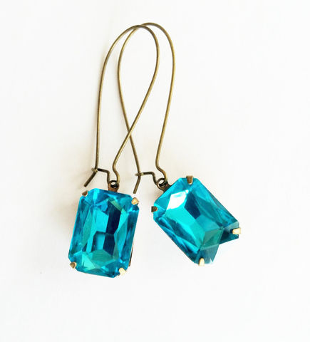 VINTAGE,SWAROVSKI,Turquoise,Rhinestone,Drop,EARRINGS,/,Aqua,Blue,Estate,Style,Dangle,Rectangular,Bridesmaid,Earrings,Gift,Boxed,Weddings,Jewelry,Estate_Style,Swarovski,Vintage_Rhinestones,Antiqued_Brass,Vintage_Style,Vintage_Glass_Stones,Bridesmaid_Earrings,aqua_blue,turquoise_blue,rhinestone_earrings,rectangular