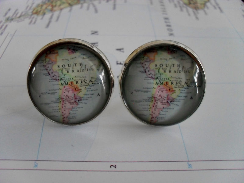 SOUTH AMERICA Map  CUFFLINKS / map cuff links / Groomsmen Gift / custom map / personalized gift for him / silver / destination gift / boxed - product image