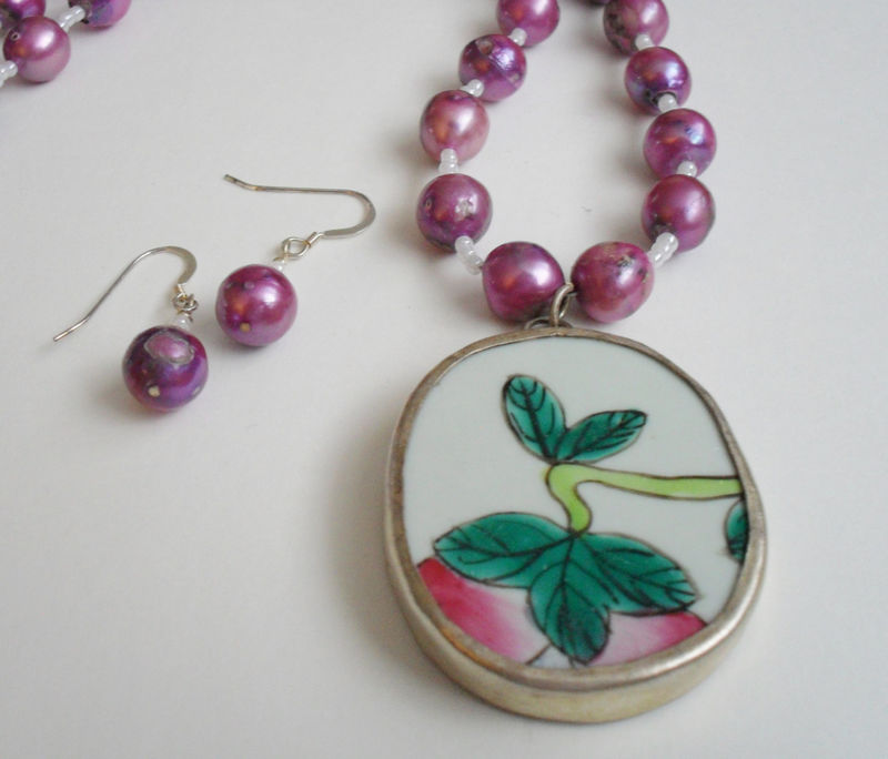 Ming  Dynasty Antique Floral POTTERY SHARD  Pendant Beaded Necklace & Earrings SET / Purple Freshwater Pearl / Ceramic / One of a kind gift - product image