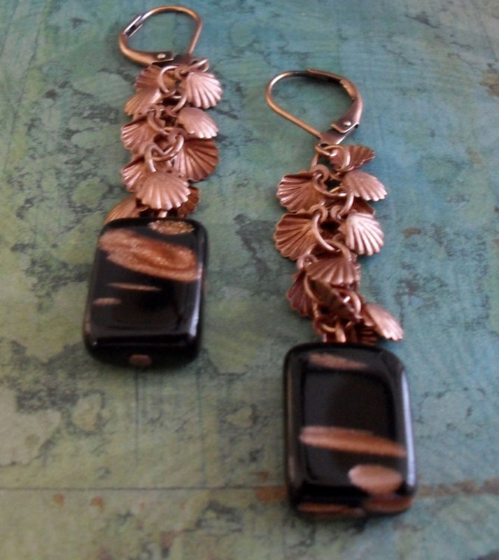Antiqued COPPER & Black SHELL Charm Beaded Drop EARRINGS // Art Glass // Unique // Gift for Her // Gift Boxed - product image