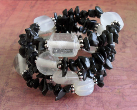 BLACK,&,WHITE,Beaded,Obsidian,Wrap,BRACELET,/,Memory,Wire,Bracelet,Cuff,Unique,Gift,for,Her,Natural,Stone,Jewelry,Canadian,Designer,One_Of_A_Kind,Hand_Made,Memory_Wire,Gemstone,Black,Unique_Gift,Canteam,beaded_bracelet,wrap_bracelet,natural_stone