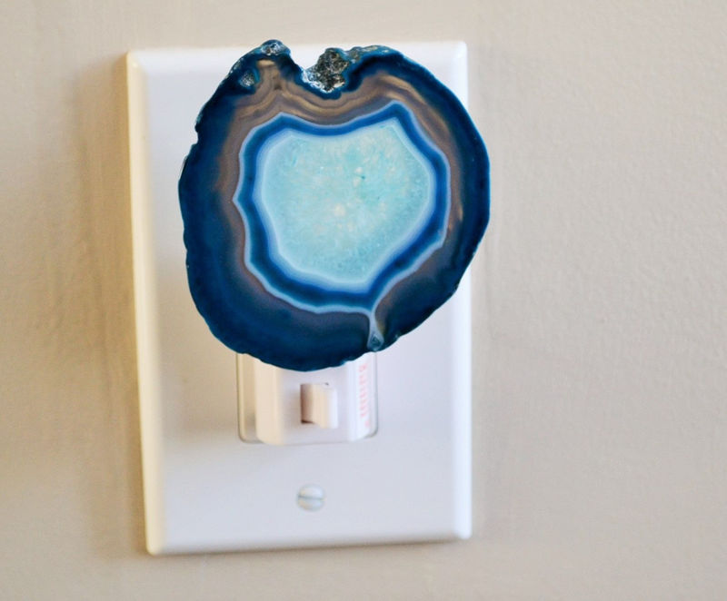 Turquoise Blue Agate Geode Night light / Agate Slice Nightlight / Geode Night Light / Natural Gold or Silver Edges - product image