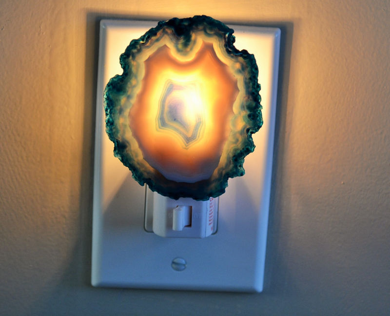 Teal Blue & White Agate Geode Night light / Agate Slice Nightlight / Geode Night Light / Natural Gold or Silver Edges - product image