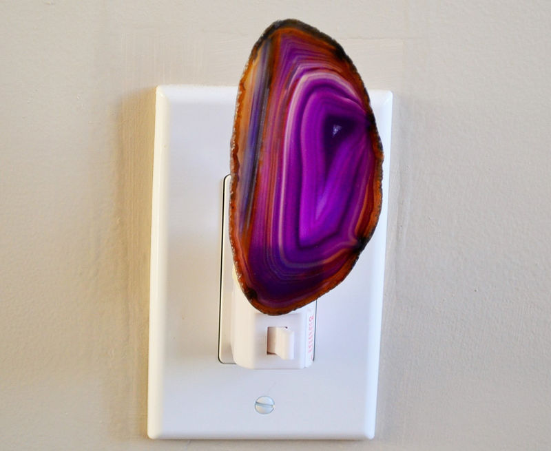 Purple & Amber Agate Geode Night light / Agate Slice Nightlight / Geode Night Light / Natural Gold or Silver Edges / Housewarming Gift - product image