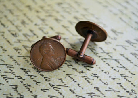 AMERICAN,PENNY,Cufflinks,/,Custom,Copper,Anniversary,Gift,Father's,Day,Groomsmen,Personalized,Boxed,Weddings,Jewelry,Bjeweled_Vintage,Hand_Made,Fathers_Day_Gift,Groomsmen_Gift,Pennies,Penny,Coin,American,Unique_Gift,anniversary_gift