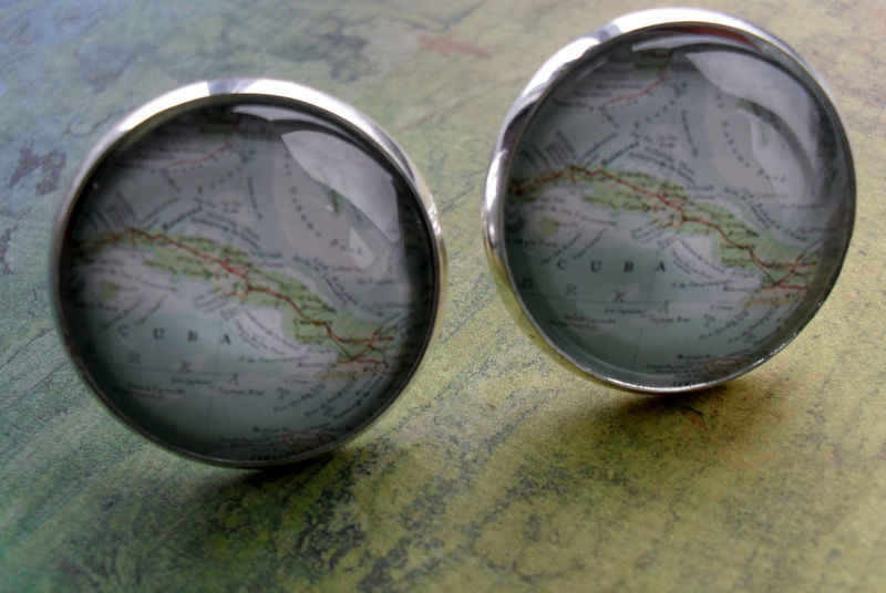 CUBA Map CUFFLINKS  / CUBAN map Cuff Links / Cuba Cufflinks / groomsmen gift / Custom Map Cufflinks / map jewelry / Gift for him / gift box - product image