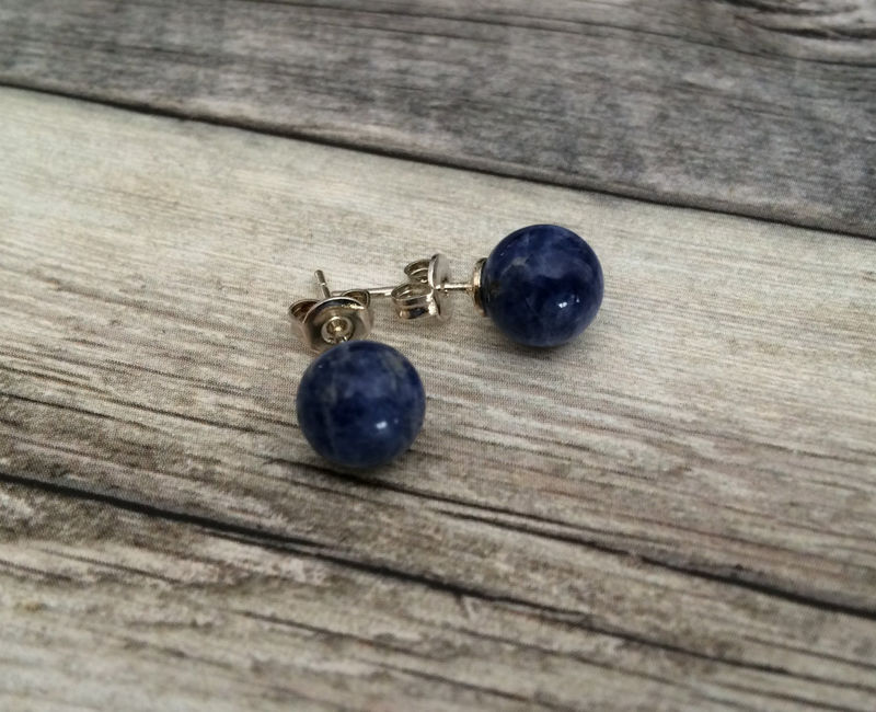 BLUE LAPIS Simple Stud Earrings / Lapis Lazuli Natural Stone Post Earrings / Stone Ball Earrings / Semi precious under 5 dollars / Gift Box - product image