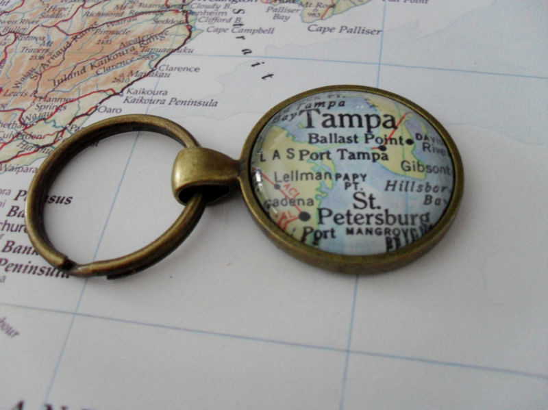 TAMPA FLORIDA Map KEYCHAIN / Destination gift / Tampa Keychain / Travel Souvenir / custom map Jewelry / Personalized gift / Gift Boxed - product image