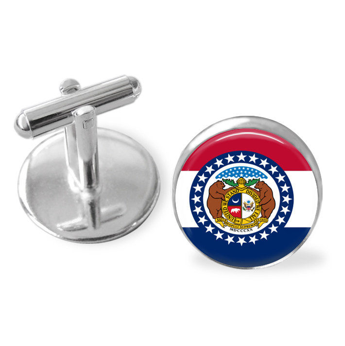 MISSOURI STATE Flag Cufflinks / MISSOURI cuff links /  The Show Me State  / state flag jewelry / Groomsmen Gift / Personalized / Gift Box - product image