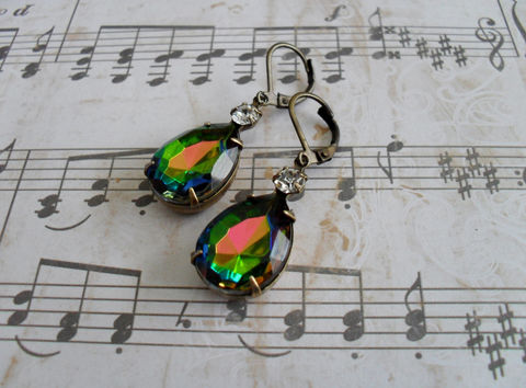 VINTAGE,VITRAIL,Rhinestone,Drop,EARRINGS,/,Czech,Glass,Swarovski,Rainbow,Dangle,Bridesmaid,Earrings,Vintage,Weddings,Jewelry,Estate_Style,Vintage_Rhinestones,Antiqued_Brass,Vintage_Style,Crystal,Czech_Glass,Cabochon,Vitrail,Unique_Gift,Canteam,Bridesmaid_earrings