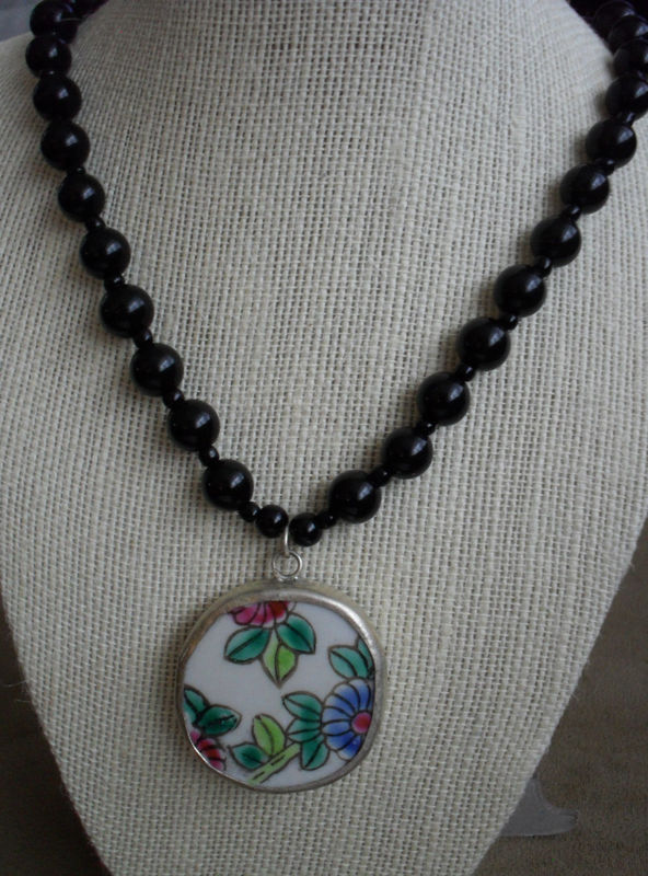 Ming  Dynasty Antique Pastel Floral POTTERY SHARD PENDANT Beaded Necklace / Black Onyx Beads / Ceramic Pendant / Gift Boxed / Unique - product image