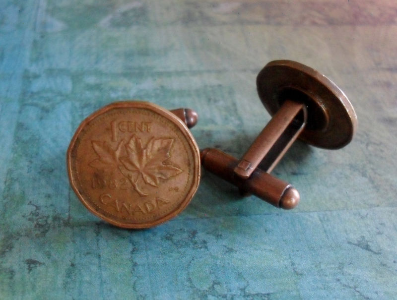 CANADIAN PENNY Cufflinks // Custom // Christmas // Father's Day // Groomsmen Gift // Personalized Gift //Gift boxed - product image