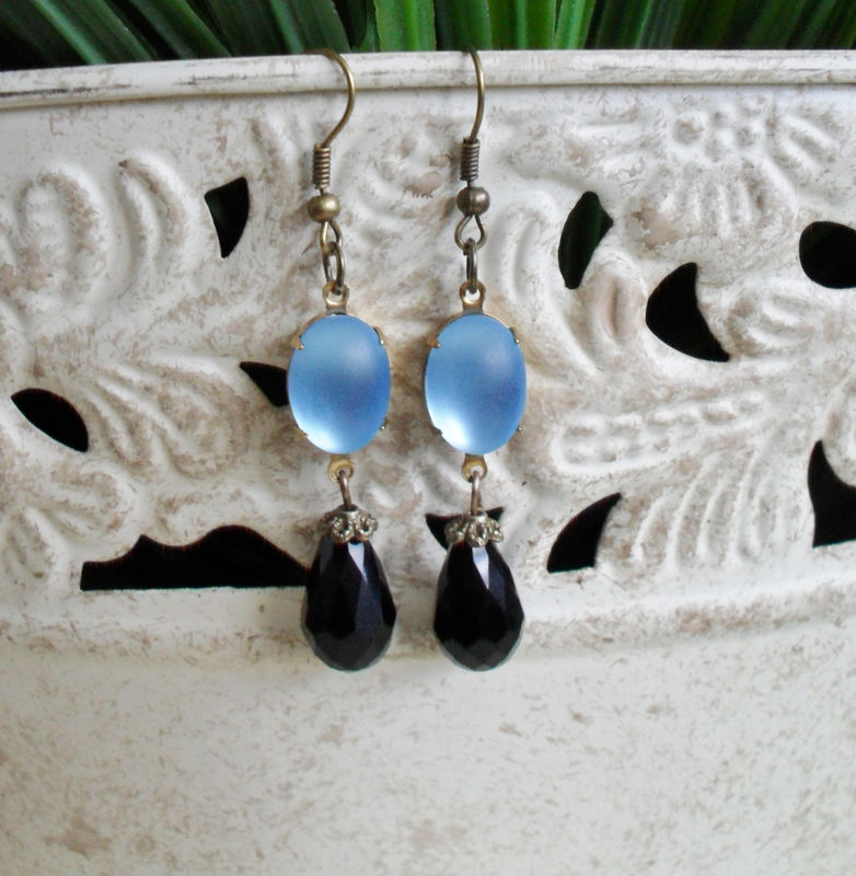 VINTAGE Frosted Moonglow BLUE Glass & French Jet  Drop EARRINGS / Czech Glass / faceted crystal / Dangle / Black and Blue Earrings / Classy - product image