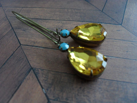 Vintage,Amber,TOPAZ,&,TURQUOISE,Rhinestone,Drop,EARRINGS,/,Czech,Glass,Swarovski,Rhinestones,Simple,Dangle,Estate,Style,Earrings,Jewelry,Estate_Style,Vintage_Rhinestones,Antiqued_Brass,Vintage_Style,Crystal,Topaz,Unique_Gift,Canteam,Bridesmaid_Earrings,Rhinestone_Earrings,Amber_Rhinestone