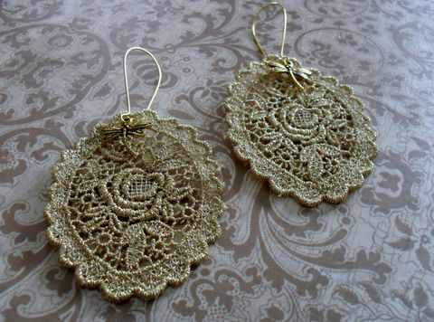 LACE,&,DRAGONFLY,Charm,Earrings,/,Gold,Venise,Lace,Vintage,Bridal,Metallic,Upcycled,unique,earrings,lace,jewelry,Jewelry,Bridesmaid,Venise_Lace,Gothic,Lace_Jewelry,Gold_Lace,Dragonfly,Reworked,Dragonfly_Earrings,Lace_Earrings