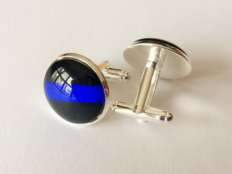 Thin Blue Line  CUFFLINKS / Police Cuff Links / Blue Lives Matter / Law Enforcement / Cuff Links / Police Officer gift / Gift boxed - product image