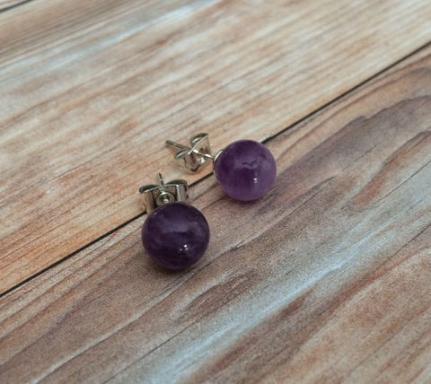 AMETHYST,Simple,Stud,Earrings,/,February,Birthstone,Natural,Stone,Post,Stocking,stuffer,under,5,dollars,Gift,Boxed,Jewelry,earrings,stone_studs,ball_earrings,surgical_steel,under_5_dollars,gift_for_her,gemstone_earrings,semi_precious,made_in_Canada,stone_earrings,amethyst,February_birthstone,stocking_stuffer