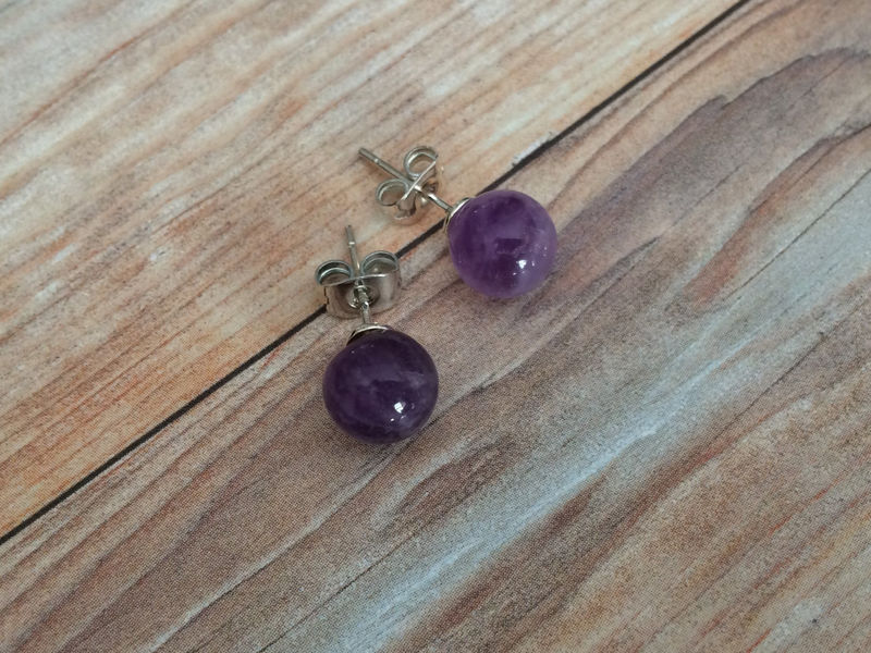 AMETHYST Simple Stud Earrings / February Birthstone / Natural Stone Post Earrings / Stocking stuffer / under 5 dollars / Gift Boxed - product image