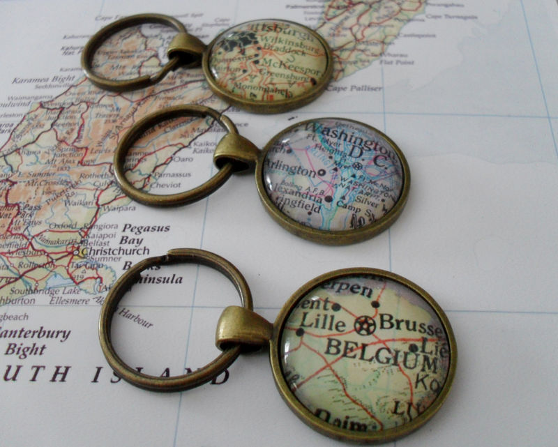 Custom MAP KEYCHAIN / Custom  vintage map key chain /  You Pick the Location / Personalized Gift / Stocking Stuffer / Gift Boxed - product image