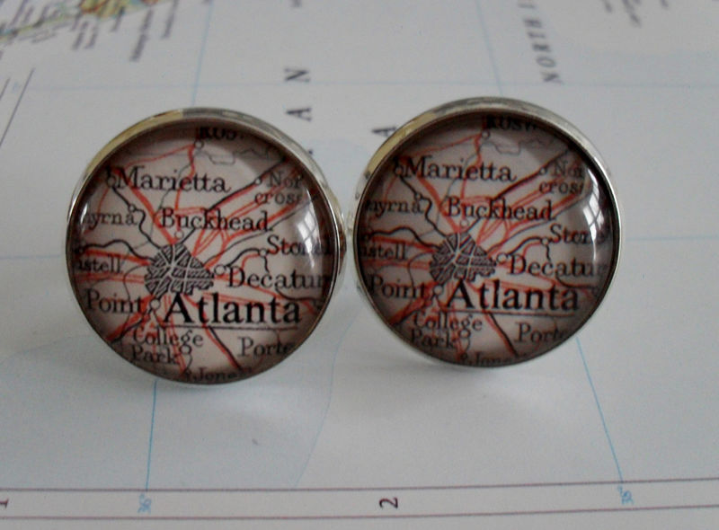 ATLANTA  Map  CUFF LINKS / Father's Day / groomsmen gift / Gift for Him / 2 sizes / silver map cufflinks / Atlanta cufflinks / Gift Boxed - product image