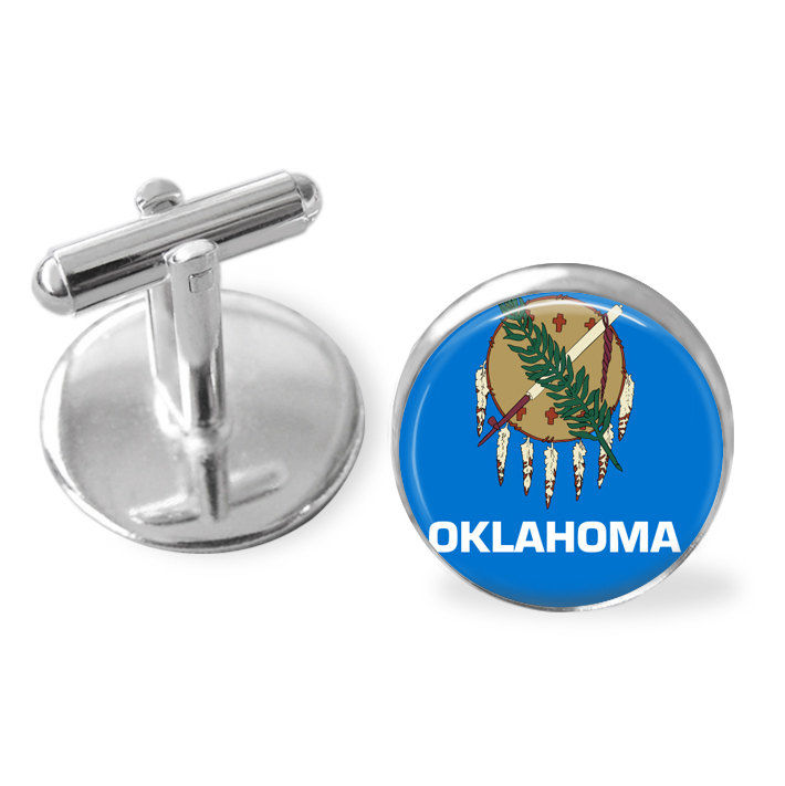 OKLAHOMA STATE Flag Cufflinks / Oklahoma cuff links /  OK flag cufflinks / state flag jewelry / Groomsmen Gift / Sooner State /Gift Boxed - product image