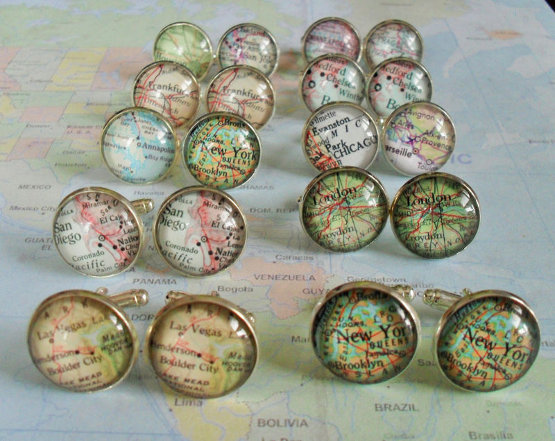 Map Cufflinks / Groomsmen Gift / 10 sets / Made to Order / 2 Sizes / Custom Map Cuff Links / Mix and match / Gift boxed / Wedding cufflinks - product image