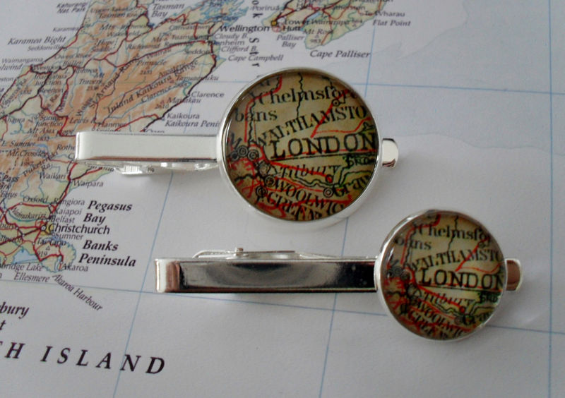 Vintage LONDON ENGLAND MAP Tie Bar / Groomsmen Gift / Gift for Him / Silver / Tie Clip / Tie Clasp / Tie Slide / Custom map jewelry - product image