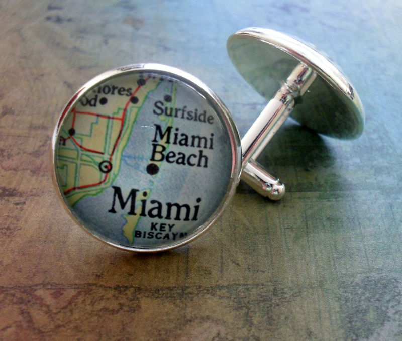 MIAMI Map CUFFLINKS / Father's Day / Groomsmen Gift / Personalized Gift for Him / Silver Map Cuff Links / Map Jewelry / Gift Boxed - product image