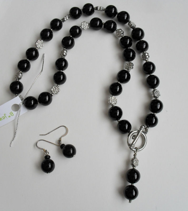 Black Onyx & Silver Flower Beaded Necklace and Earrings Set / Sterling Silver / Semi precious Stone / Natural stone jewelry / Gift Boxed - product image